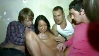 Lascivious girlfriend is about to have intercourse with crazy multiple dudes homemade video