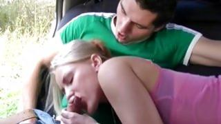 Nice blonde gf is fucked brutally and properly right on her car