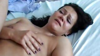 naked gf lying on her bed gets her tight ass drilled by her hard man