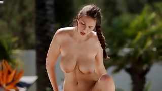 Dark haired sweetheart is screaming during the cock riding