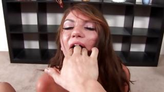 Drunken horney girlfriend is going to swallow nastily this adorable hard cock