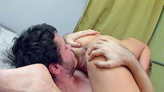 Horny boy is getting a boner from licking on this fancy clit