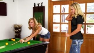 Two lascivious babes on billiard table playing with genitals