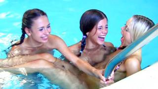 Watch my gf have a hot lesbian fuck in the pool