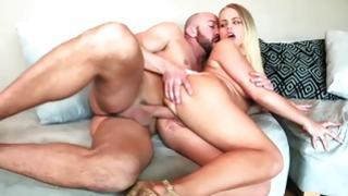 Horny blonde voluptuary getting her nipper flower pierced from behind