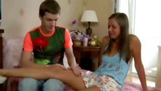 Kneeling gf is getting her anal eye sucked by the careful hot boy