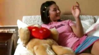 Lonely babe with the teddy bear dreaming about the cuddly poking