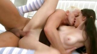 Blond unmanageable dude is swallowing the pretty round boobs of hot chick