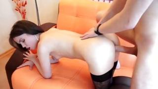 Skinny dark-haired is riding a rough boner with pleasure hard core