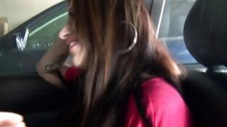 Brown-haired sluttish hooker is giving the deep blowjob in the car
