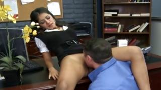Kinky wench is sucking wildly on sinewy beefy cock