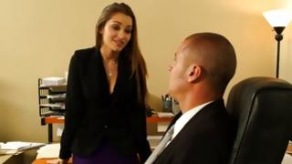 Adorably hot young woman talking to her boss