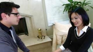 Horrible man is seducing Chinese whorish chick