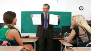 Horny teacher wishes fuck babes for good marks