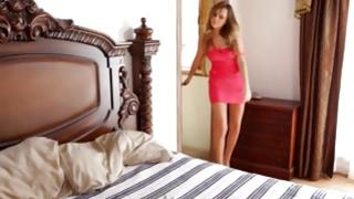 Skinny salacious girl came to bedroom for some relax