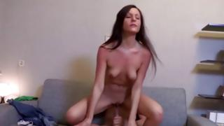Skinny nasty bitch is getting her horny pounded