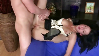 Bent over vicious cute gal fucked naughty doggie