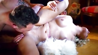 Salacious young babe is rubbing the twat while fucked kinky