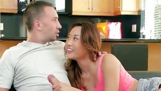 Skinny yummy chick is fucked with the lovely huge dong