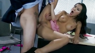 Curly brunette Asian babe is attacked with knob on her mouth
