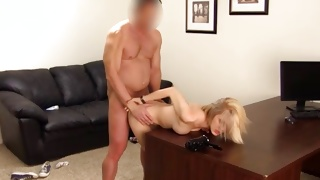 Blonde cutie is getting slammed over the table