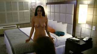 Geeky chick enjoys when she is poked from behind