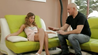 Fine teen babe is waiting for this bald dude to fuck her hard
