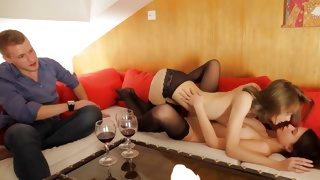 Hot threesome with kinky babes making out and fucking